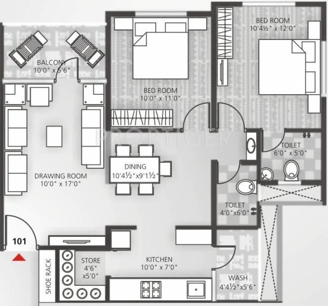 Avalon Courtyard 2 (2BHK+2T (1,314 sq ft) 1314 sq ft)