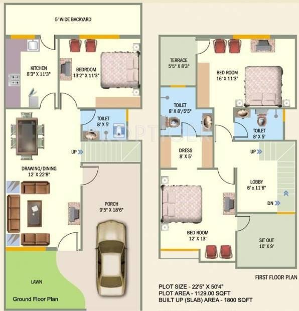 Meenakshi Builders Planet City Villa Floor Plan 3bhk 3t 1800 Sq Ft 5185468 374290 on 800 Sq Ft 2 Bedroom Floor Plans