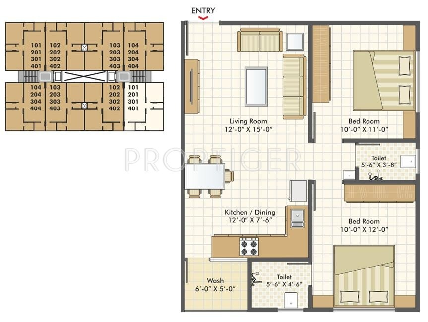 1000 Sq Ft 2 Bhk 2t Apartment For Sale In Akshar Group