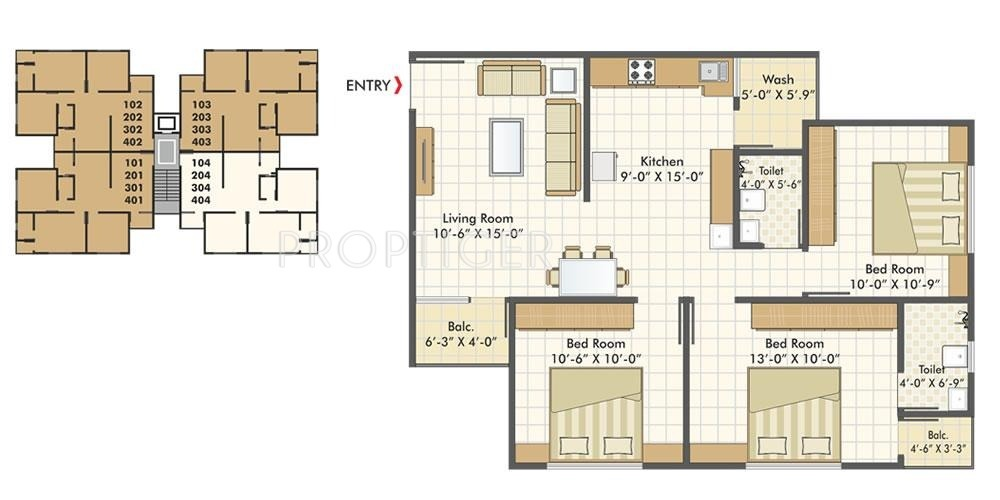 1300 Sq Ft 3 Bhk 2t Apartment For Sale In Akshar Group