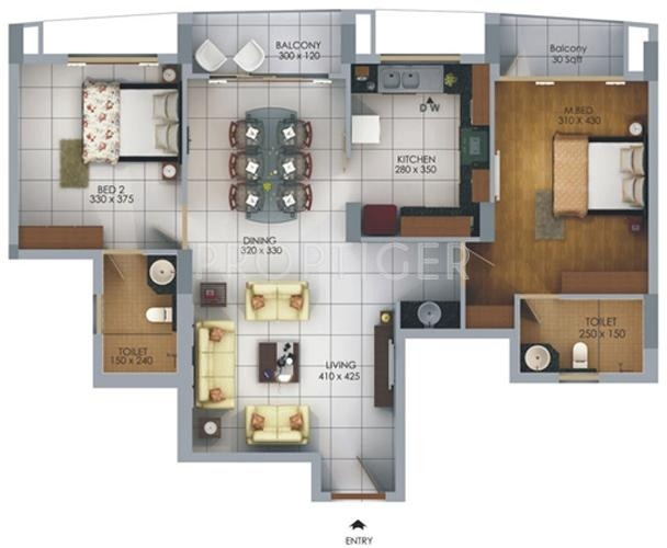 SFS Homes Cyber Palms Silver Floor Plan (2BHK+2T)