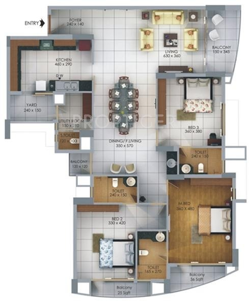 SFS Homes Cyber Palms Silver Floor Plan (3BHK+3T)