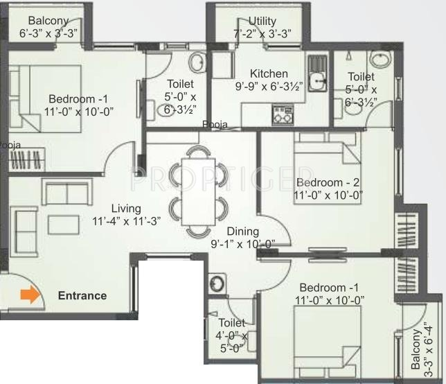 1083 sq ft 3 bhk 3t apartment for sale in saradeuz realty for 1083 3