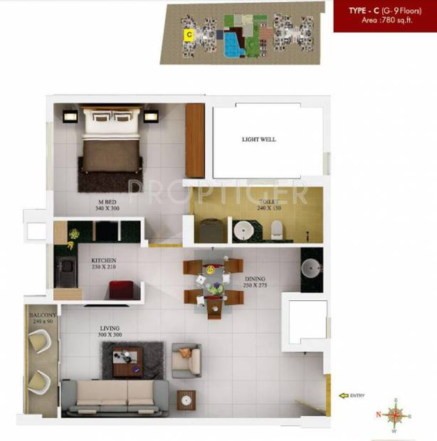 SFS Silicon Hills and Medows (1BHK+1T (780 sq ft) 780 sq ft)