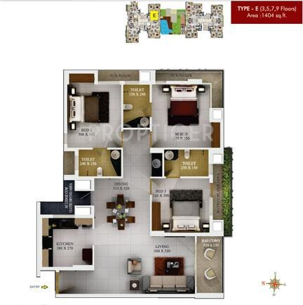 SFS Silicon Hills and Medows (3BHK+3T (1,404 sq ft) 1404 sq ft)