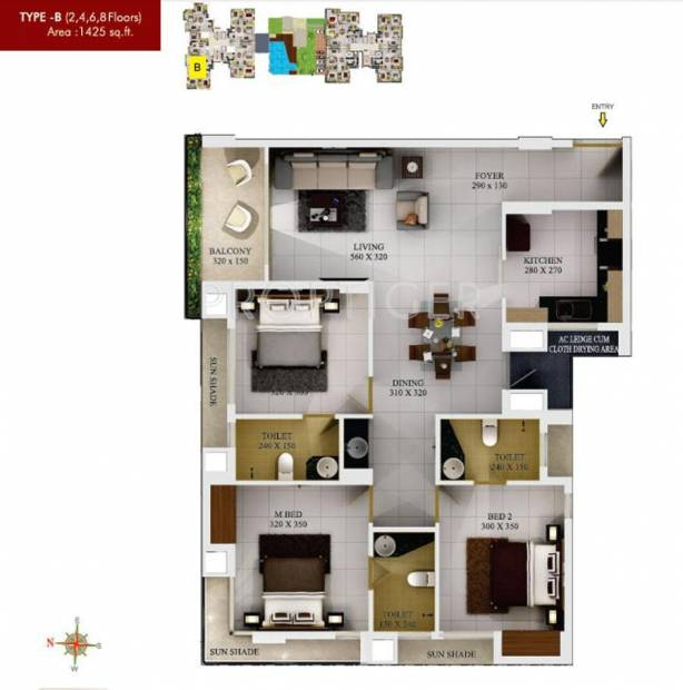SFS Silicon Hills and Medows (3BHK+3T (1,425 sq ft) 1425 sq ft)