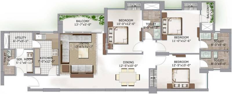 3C Lotus Boulevard (3BHK+4T (1,702 sq ft) + Servant Room 1702 sq ft)