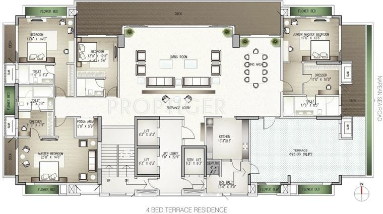2500 sq ft 4 bhk floor plan image lodha group costiera for 2500 sq ft apartment plans