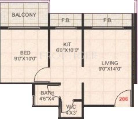 640 sq ft 1 bhk 1t apartment for sale in om group jalaram for 640 square feet floor plan