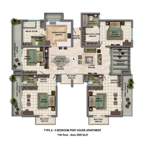2500 sq ft 4 bhk 4t apartment for sale in galaxy builders for Apartment floor plans 2500 sq ft