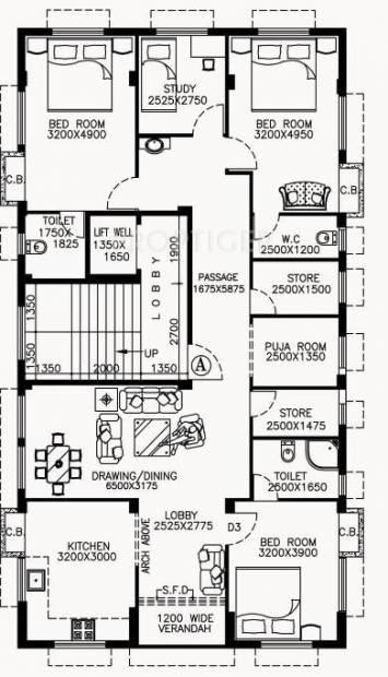 Bluechip Jibon Charit (3BHK+3T (2,334 sq ft)   Study Room 2334 sq ft)