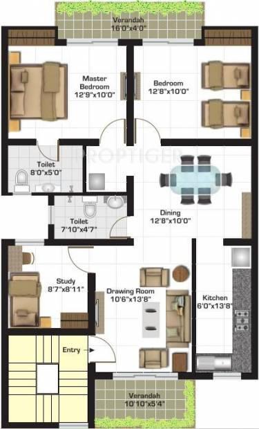 Ashiana Gulmohar Gardens Apartments (2BHK+2T (1,325 sq ft) + Study Room 1325 sq ft)