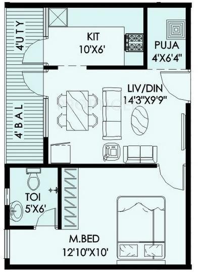 Lily Jasmine (1BHK+1T (670 sq ft)   Pooja Room 670 sq ft)