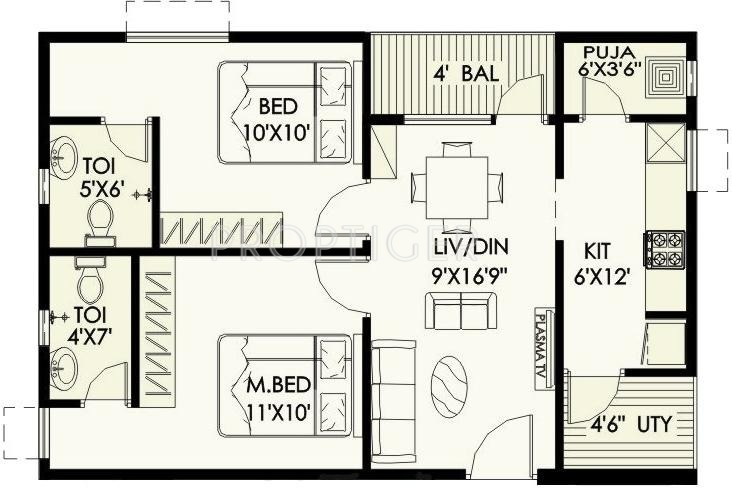 900 sq ft 2 bhk floor plan image surya shakti green for 12 by 12 room sq ft