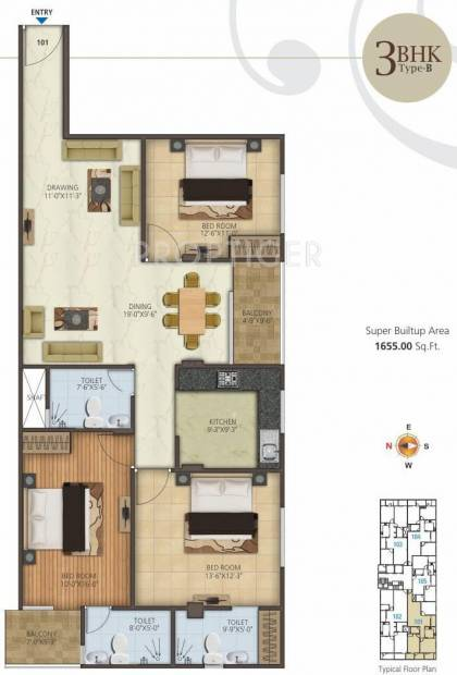 1655 Sq Ft 3 Bhk Floor Plan Image Kotecha Group Royal