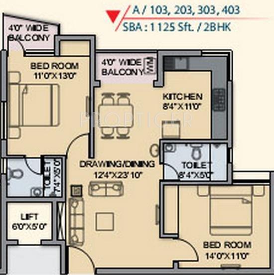 Supratik ecstacy in bharatpur bhubaneswar price for 1125 sq ft floor plan