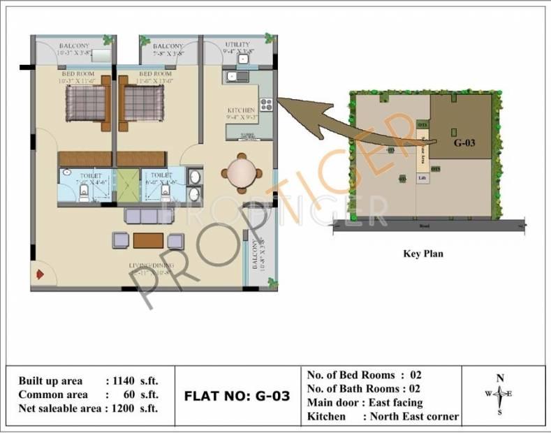 Insight Gokula (2BHK+2T (1,200 sq ft) 1200 sq ft)