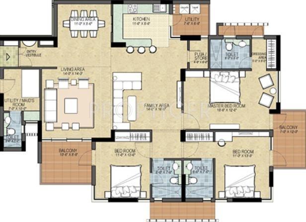 2200 Sq Ft 3 Bhk Floor Plan Image Shalimar Gallant