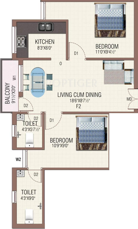 720 Sq Ft Apartment Floor Plan Of Shalom Thamarai Apartments In West Tambaram Chennai