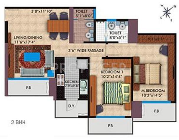 Parsvnath Platinum (2BHK+2T (1,200 sq ft) 1200 sq ft)