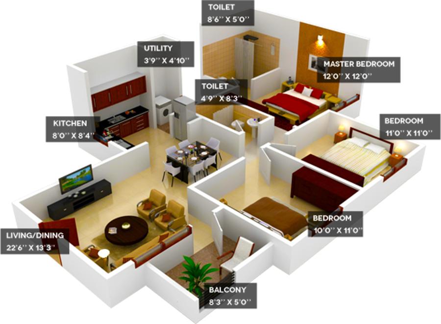 Provident Housing Welworth City Floor Plan 2bhk 2t 845 Sq Ft