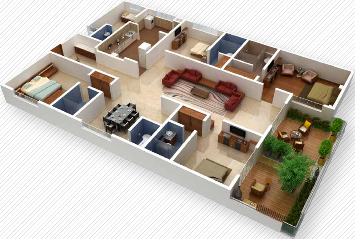 2700 sq ft 4 bhk 4t apartment for sale in vaishnavi group for Four bhk bungalow plan