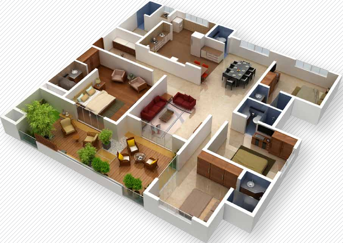 2700 sq ft 4 bhk 4t apartment for sale in vaishnavi for In plan 3d