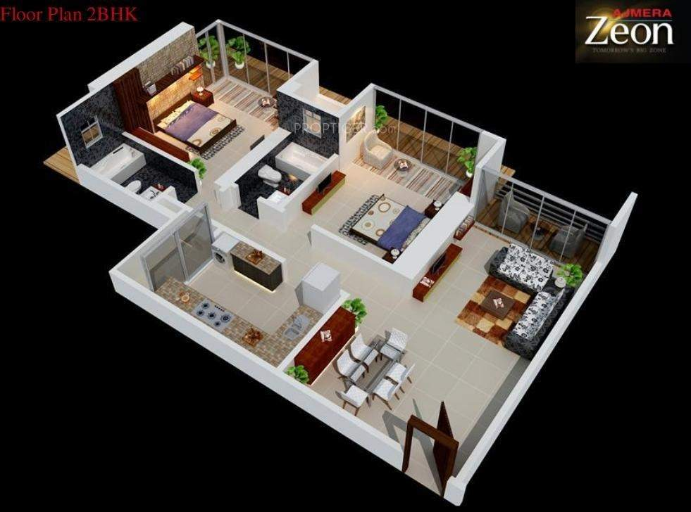 1350 sq ft 2 bhk 2t apartment for sale in ajmera zeon for 1350 sq ft house plan