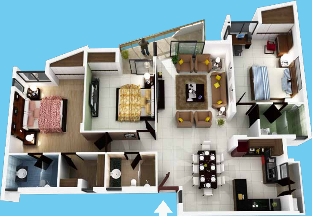 2400 sq ft 4 bhk 3t apartment for sale in krishna for 2400 sq ft house plans 3d