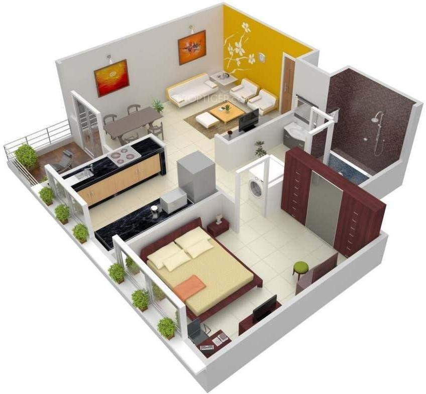 785 sq ft 1 bhk 1t apartment for sale in vaastu udyog for Apartment plans as per vastu