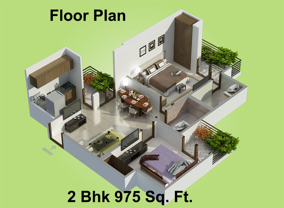 975 Sq Ft 2 Bhk 2t Apartment For Sale In Charms India