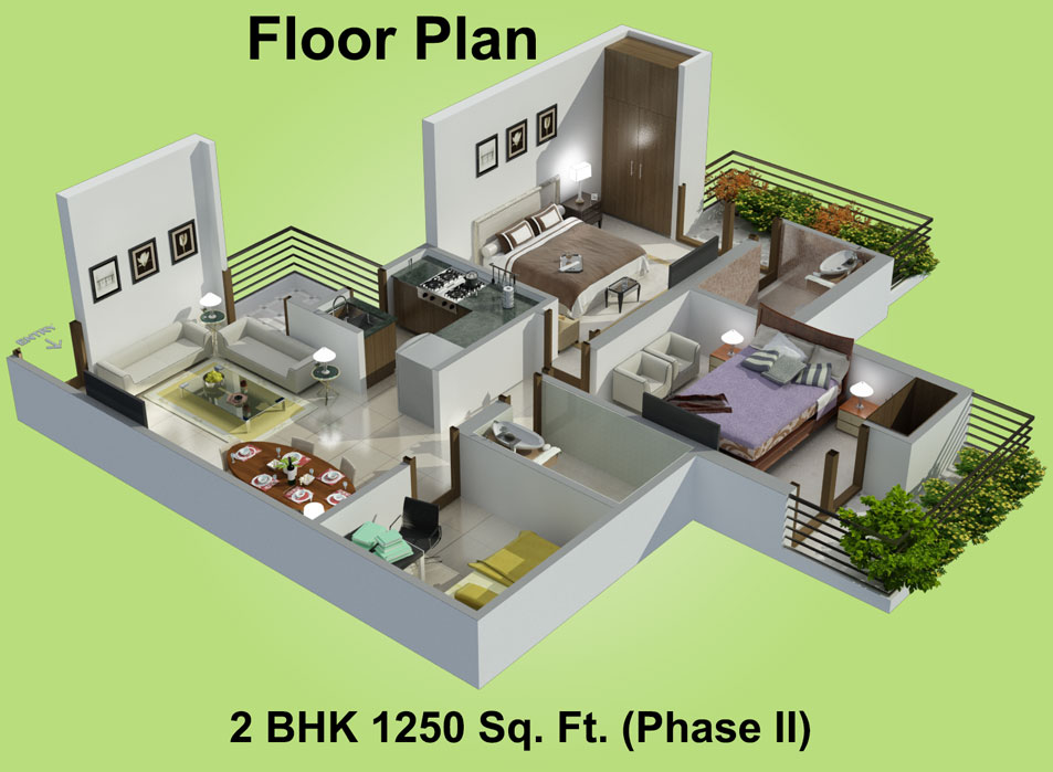 1250 Sq Ft 2 Bhk 2t Apartment For Sale In Charms India