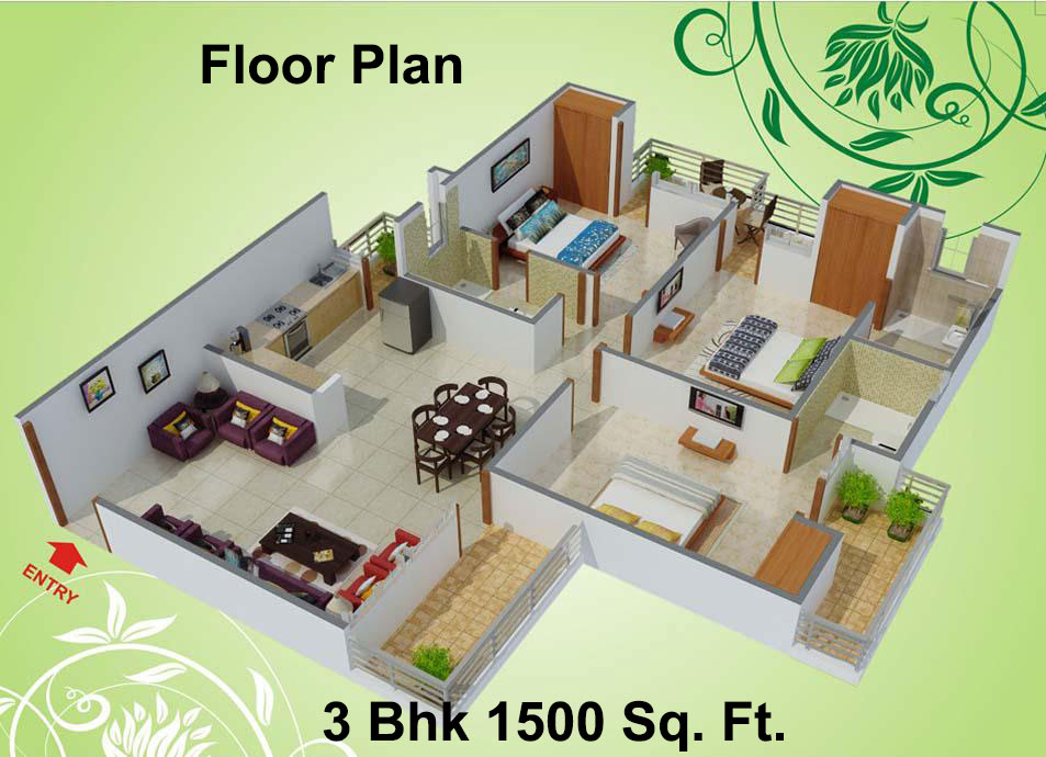 1500 sq ft 3 bhk 3t apartment for sale in charms india for Plan of 3bhk house