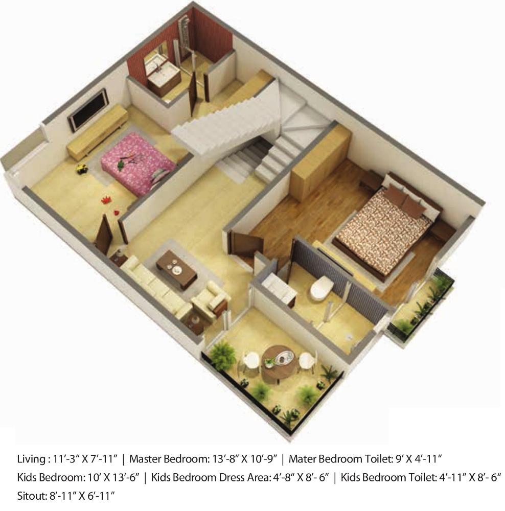 2030 sq ft 3 bhk 3t villa for sale in safeway infra symphony park