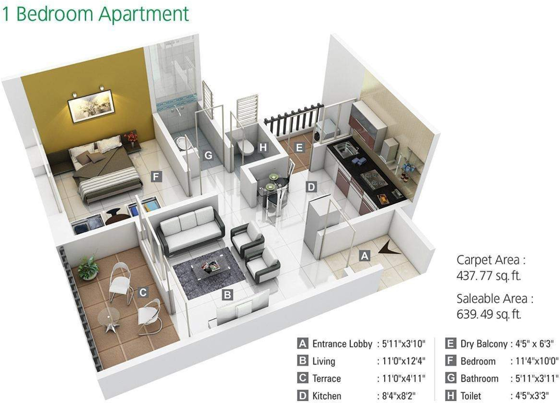640 sq ft 1 bhk 1t apartment for sale in kumar properties for 640 square feet floor plan