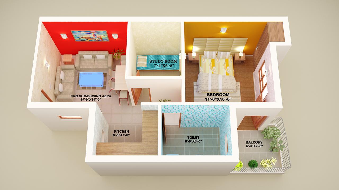 1 bhk flat interior design - 1 Bhk 2 Bhk Floor Plan