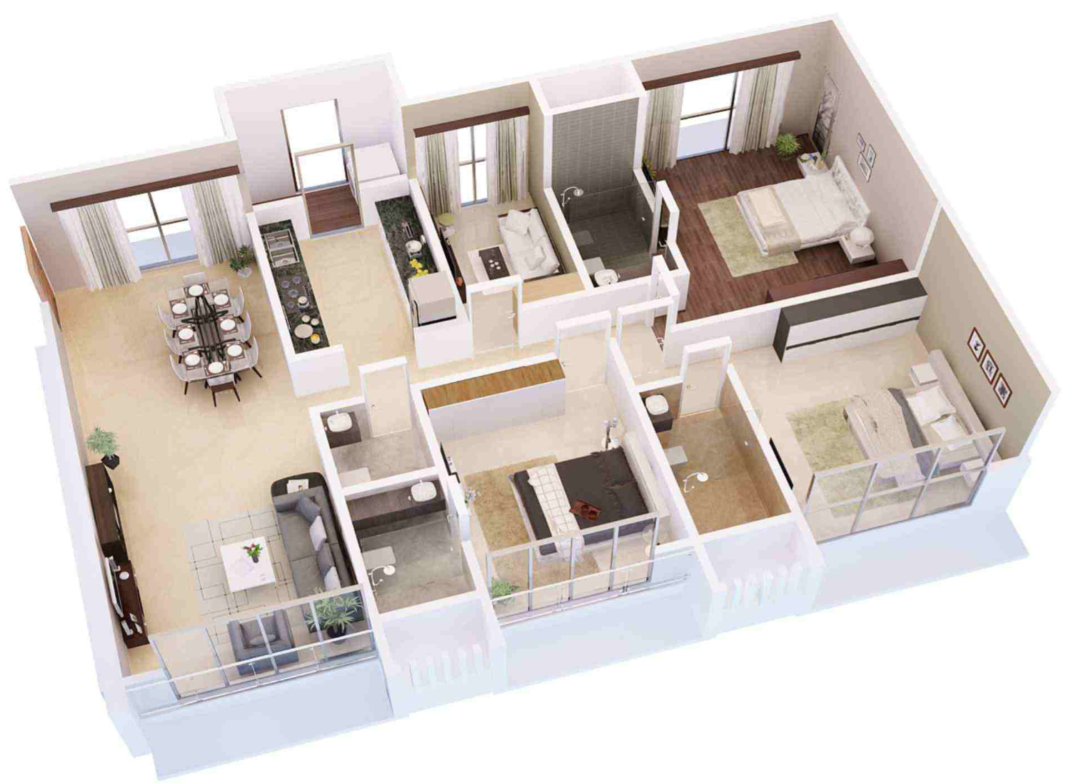 3bhk 3t 2100 Sqft Apartment on online floor plan