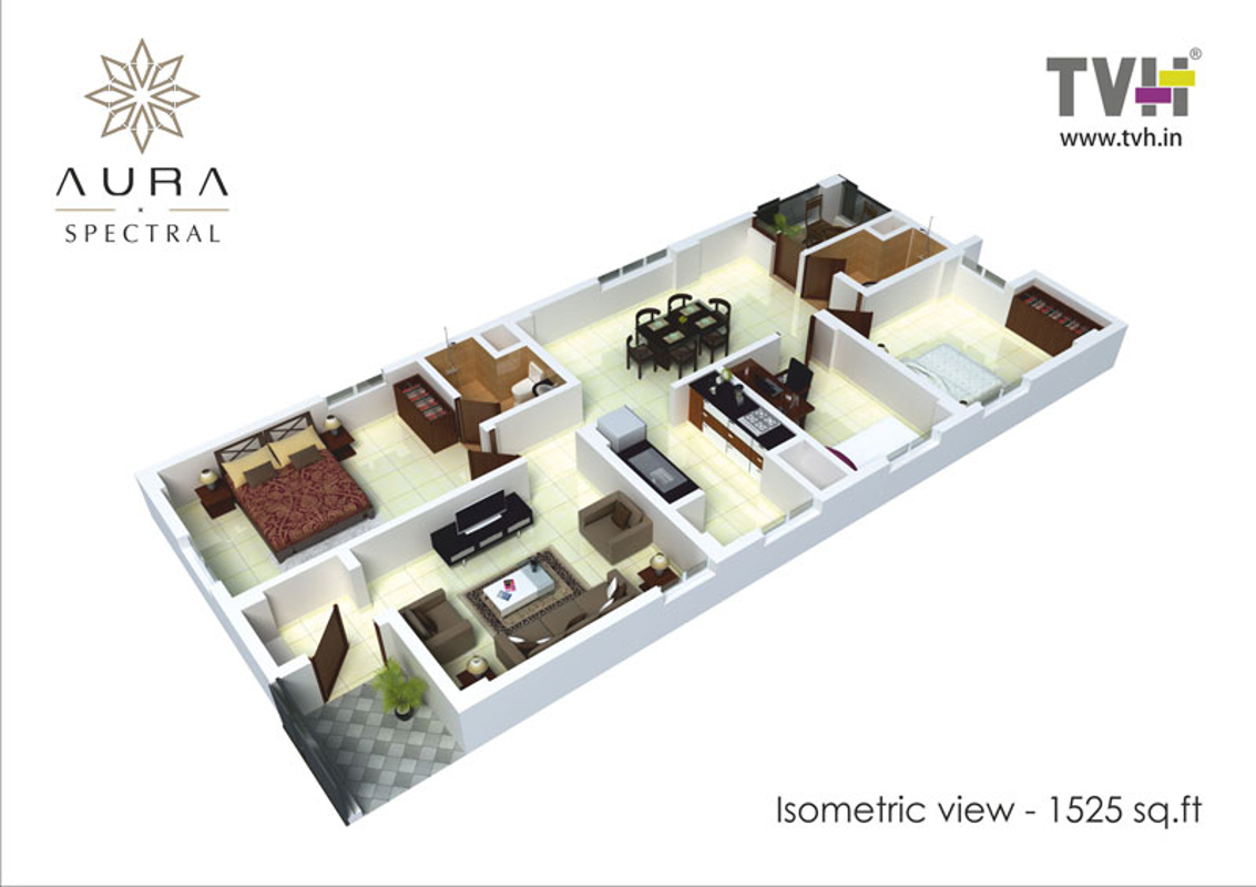 1525 Sq Ft 3 Bhk 2t Apartment For Sale In Tvh Aura Padur