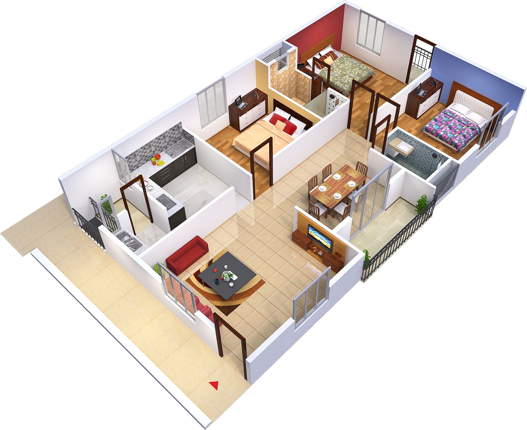 Flat Plan 3 Bhk House Plans According To Vastu