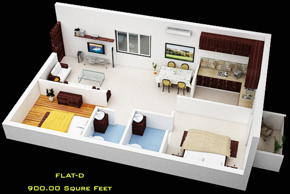 900 sq ft 2 bhk 2t apartment for sale in pawan caastles for Interior design 600 sq ft flat