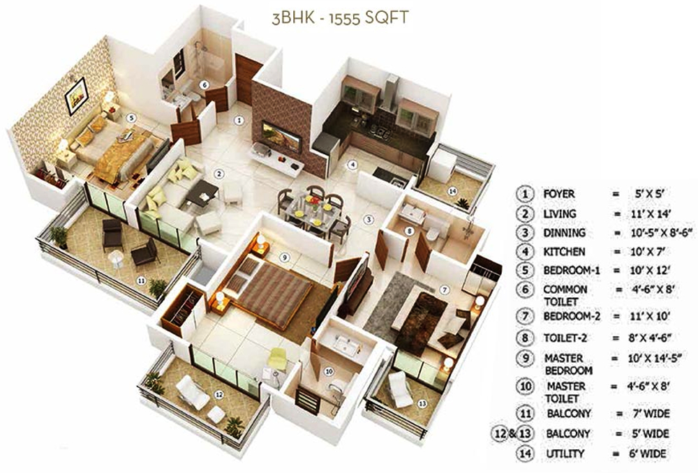 2600 Sq Ft 4 Bhk 5t Apartment For Sale In Ajnara The
