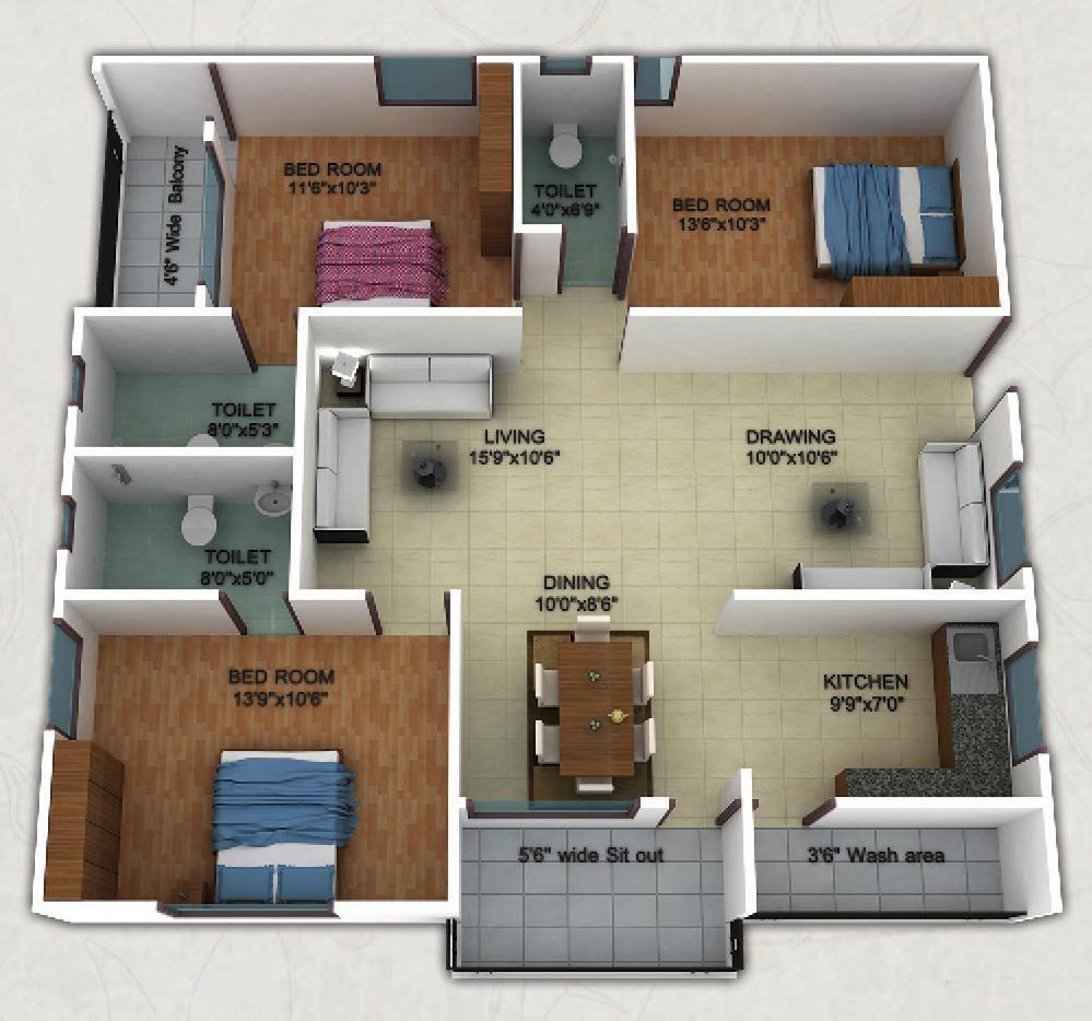 1300 sq ft 3 BHK 3T Apartment