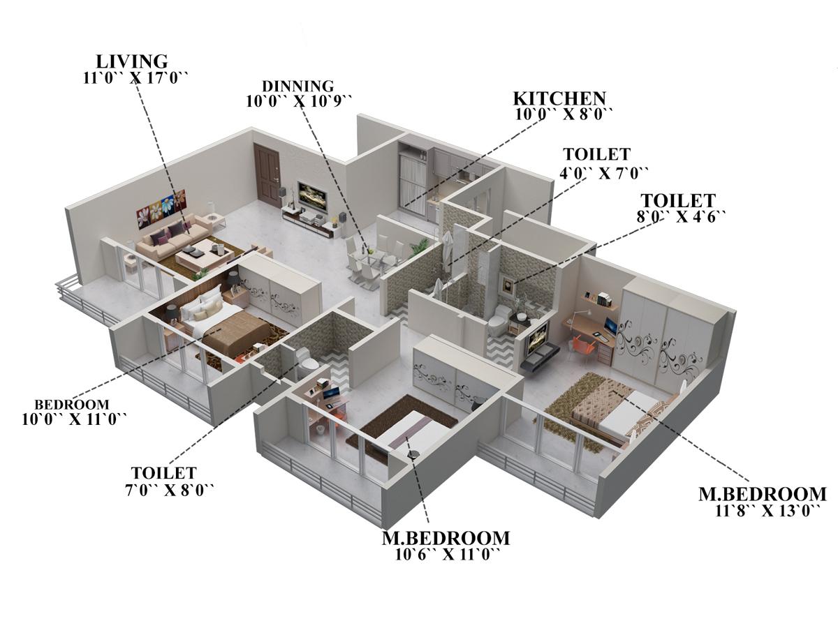 1675 sq ft 3 bhk 3t apartment for sale in akshar for Green floor plans