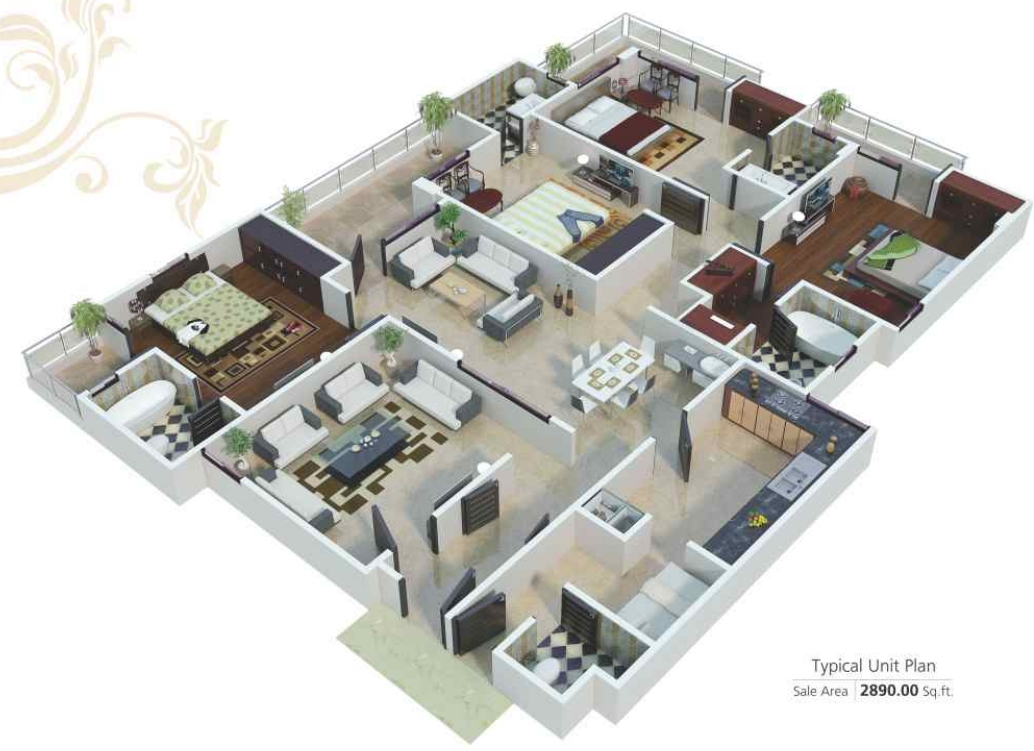 2890 sq ft 4 bhk 5t apartment for sale in sdc ashok for 4 bhk apartment design