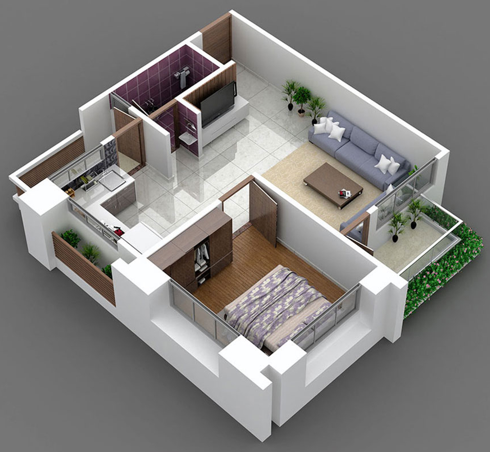 Home 3d Design Online Minimalist: 750 Sq Ft 1 BHK 1T Apartment For Sale In Kabir Group White