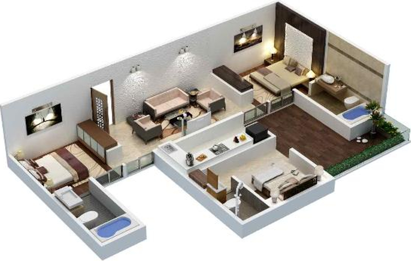 1200 Sq Ft 3 Bhk 3t Apartment For Sale In Xrbia Eiffel