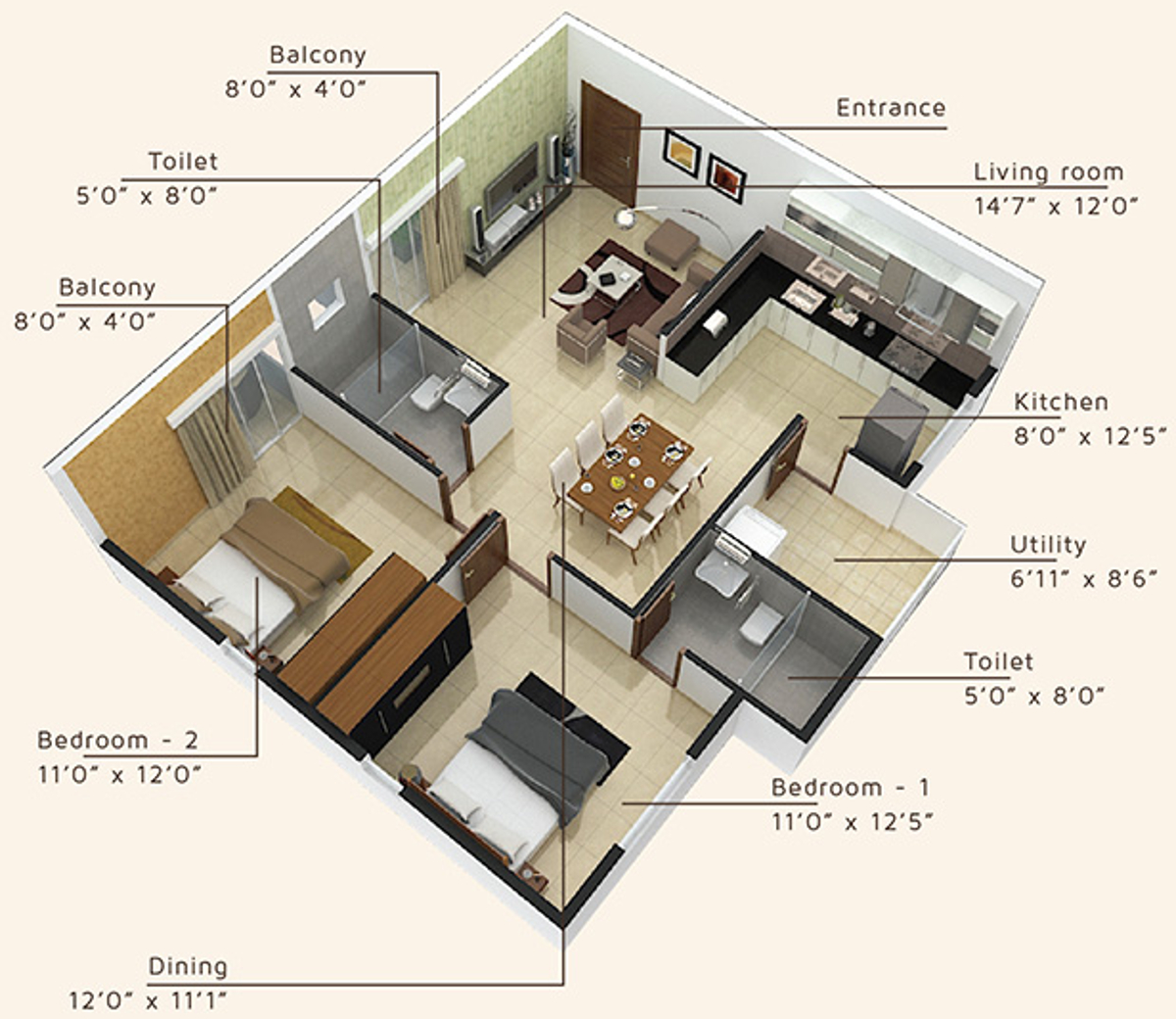 1450 Sq Ft 3 Bhk 3t Apartment For Sale In Bsr Developers