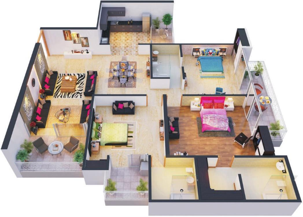 1300 Sq Ft Apartment Floor Plan Modern