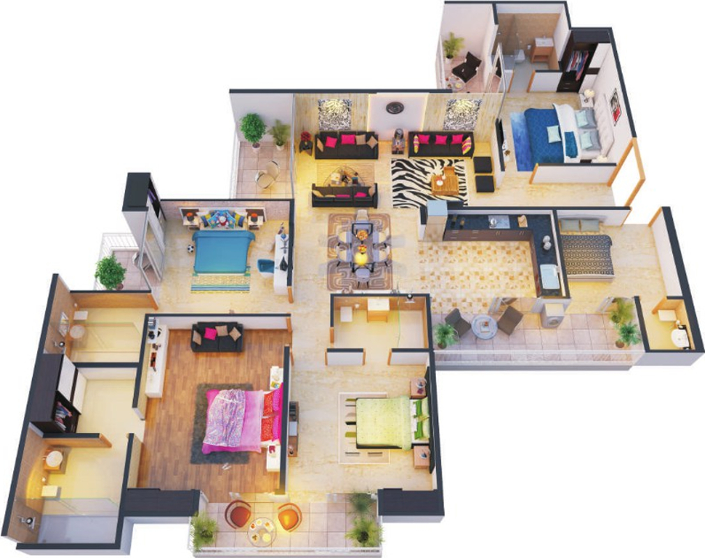2500 sq ft 4 bhk 4t apartment for sale in the antriksh for Apartment floor plans 2500 sq ft