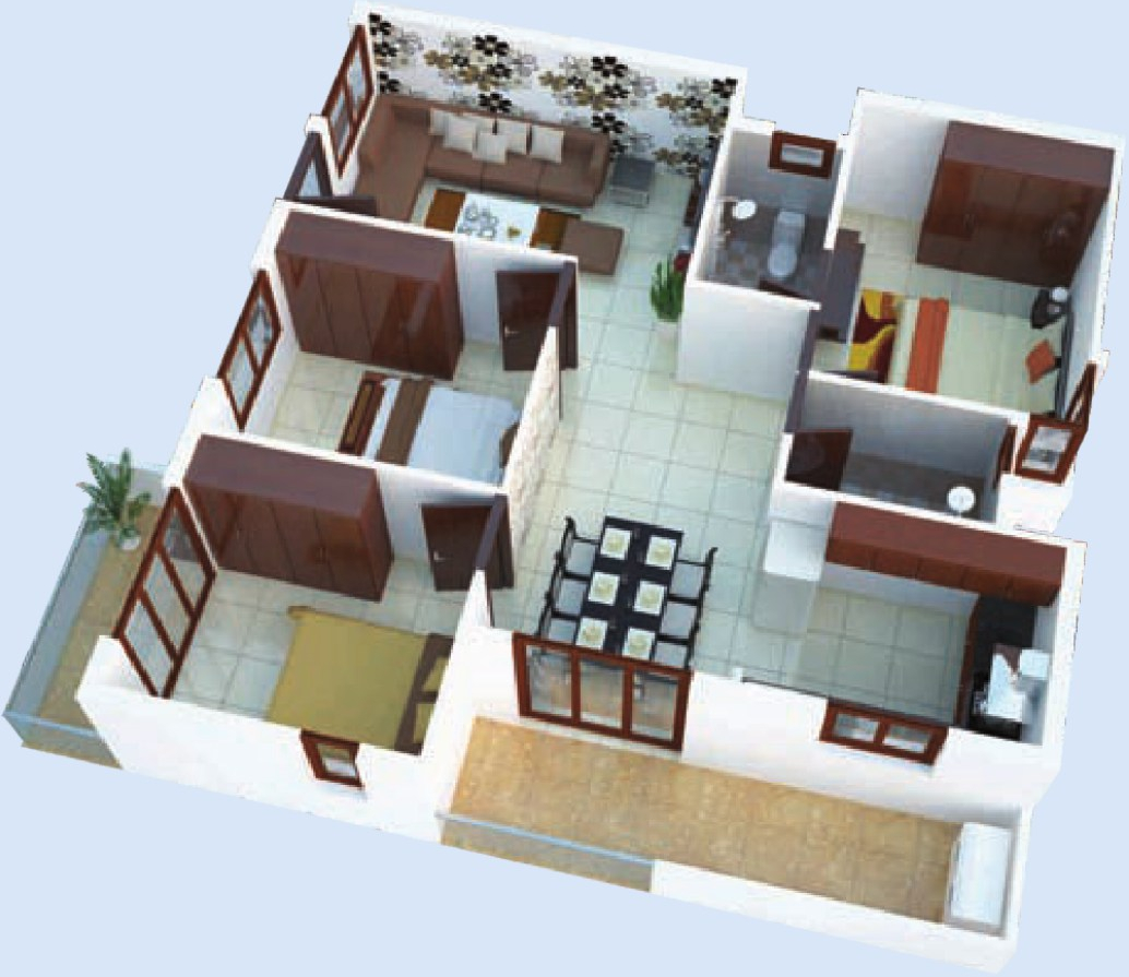 1300 sq ft 3 bhk 2t apartment for sale in naksha atlantis for Indian home naksha